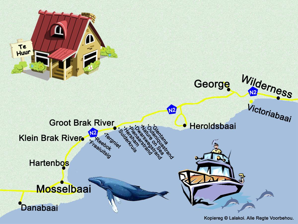 kaart vir Tuinroete Akkommodasie